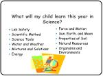 what will my child learn this year in science