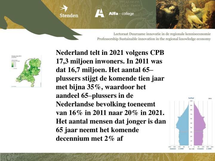 Nederland telt in 2021 volgens CPB 17,3 miljoen inwoners. In 2011 was dat 16,7 miljoen. Het aantal 65–plussers stijgt de komende tien jaar met bijna 35%, waardoor het aandeel 65–plussers in de Nederlandse bevolking toeneemt van 16% in 2011 naar 20% in 2021. Het aantal mensen dat jonger is dan 65 jaar neemt het komende decennium met 2% af