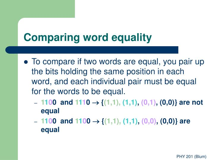 Comparing word equality