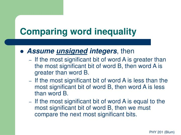 Comparing word inequality