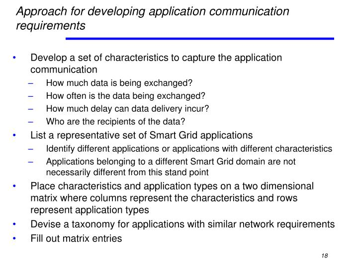 Approach for developing application communication requirements