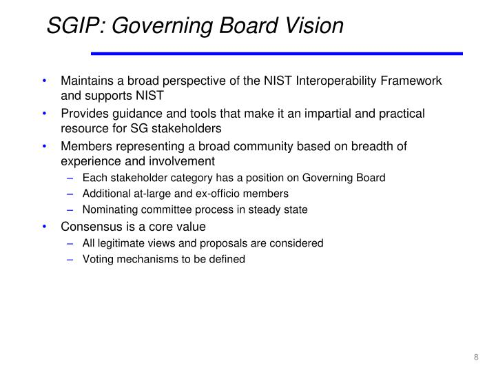 SGIP: Governing Board Vision