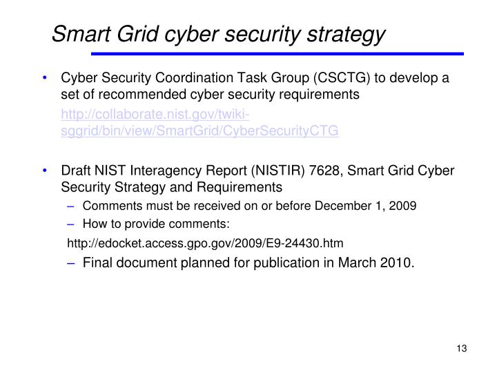 Smart Grid cyber security strategy