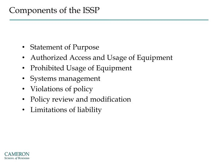 Components of the ISSP