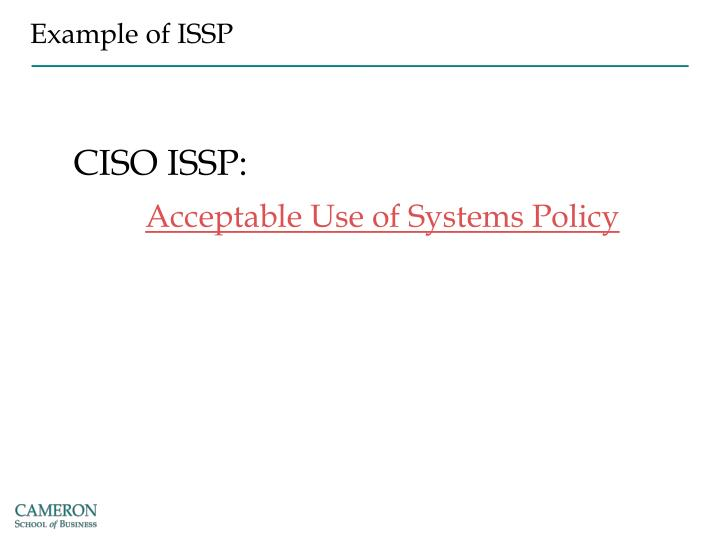 Example of ISSP