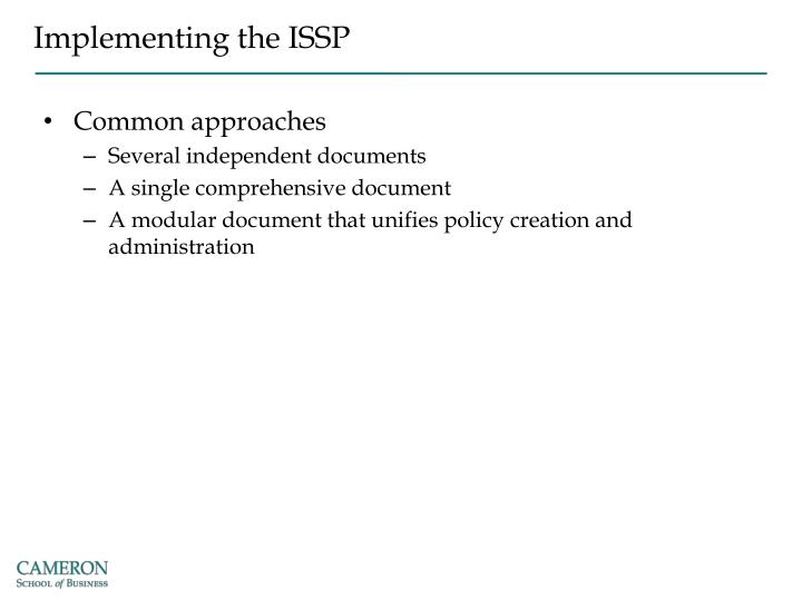 Implementing the ISSP