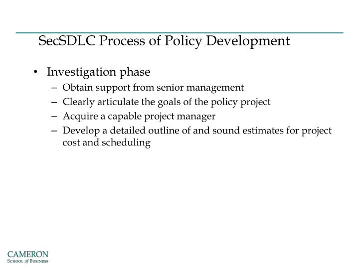 SecSDLC Process of Policy Development