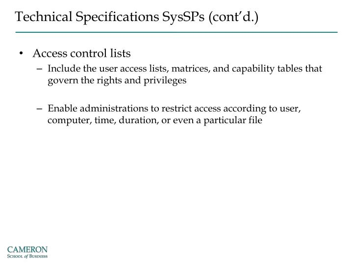 Technical Specifications SysSPs (cont'd.)