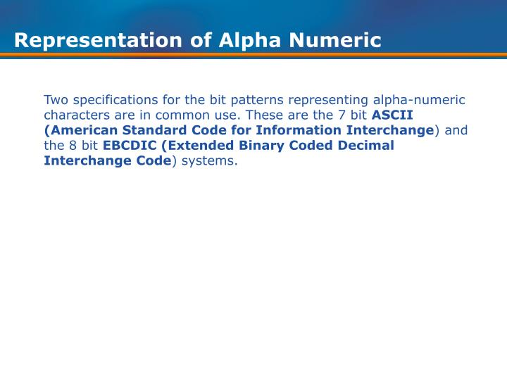 Representation of Alpha Numeric