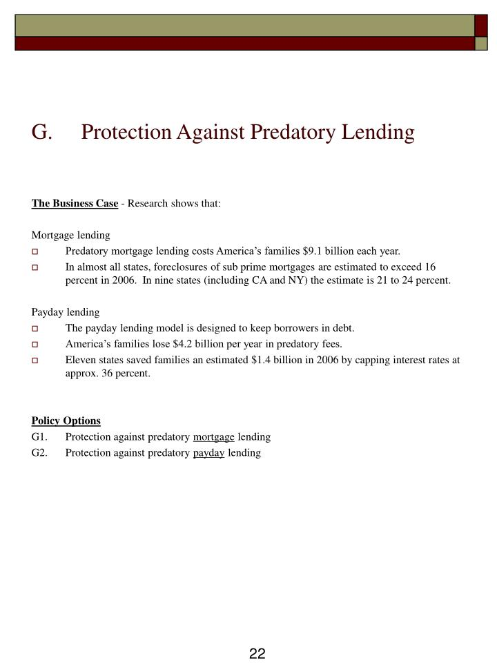 Protection Against Predatory Lending