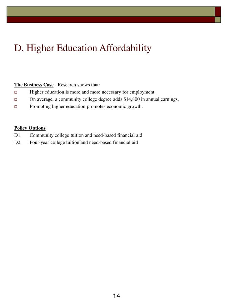 D. Higher Education Affordability