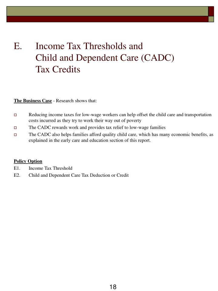 E.  	Income Tax Thresholds and