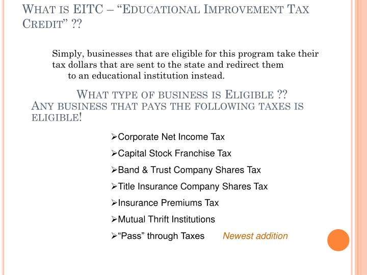 What is eitc educational improvement tax credit