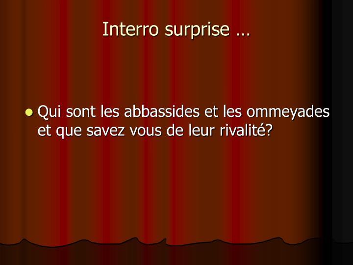 Interro surprise …