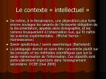 le contexte intellectuel
