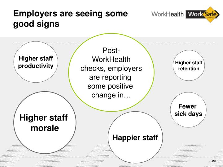 Employers are seeing some    good signs