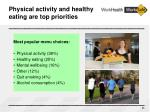 physical activity and healthy eating are top priorities