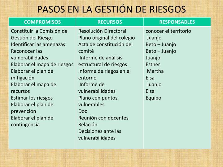 PASOS EN LA GESTIÓN DE RIESGOS