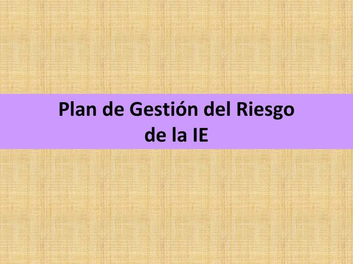 Plan de Gestión del Riesgo
