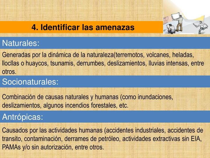 4. Identificar las amenazas