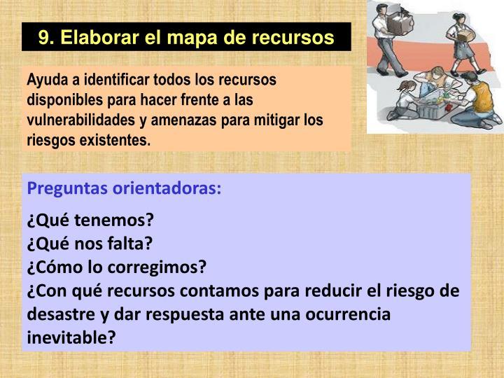 9. Elaborar el mapa de recursos