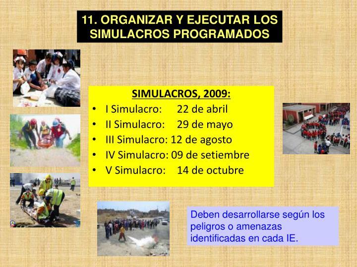 11. ORGANIZAR Y EJECUTAR LOS