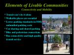 elements of livable communities connectivity and mobility
