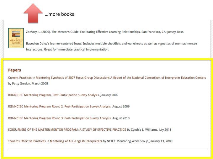 …more books