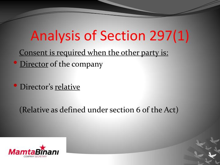 Analysis of Section 297(1)