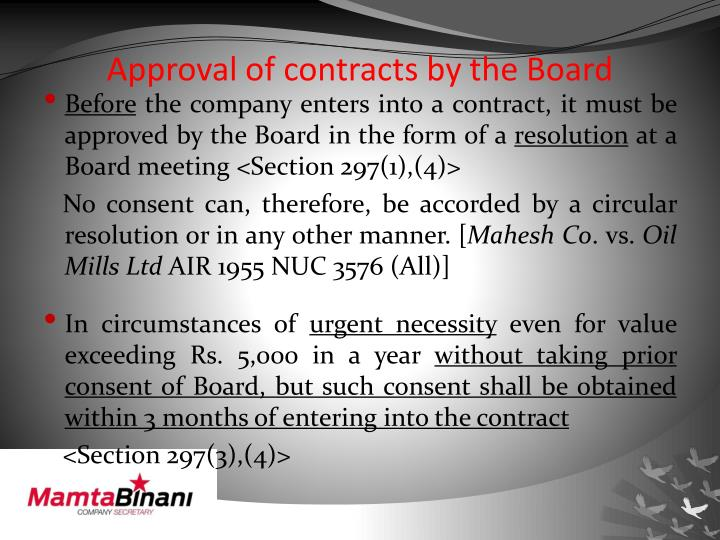 Approval of contracts by the Board