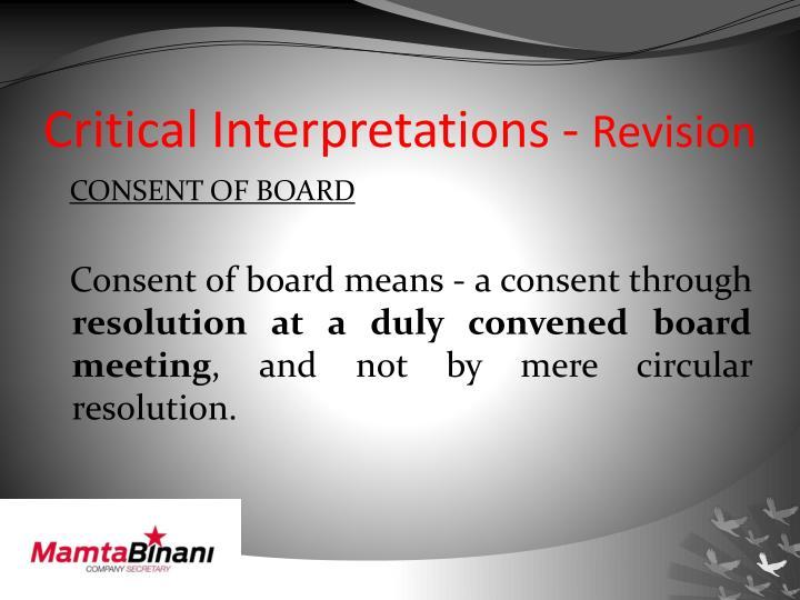 Critical Interpretations -