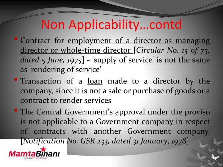 Non Applicability…contd