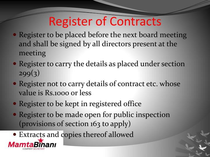 Register of Contracts