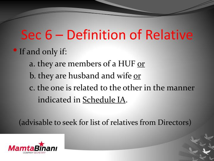 Sec 6 – Definition of Relative