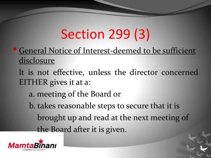 Section 299 (3)