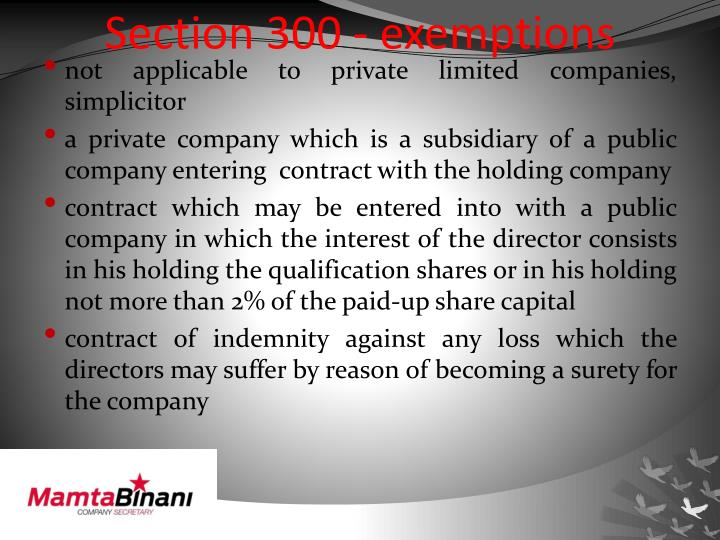 Section 300 - exemptions