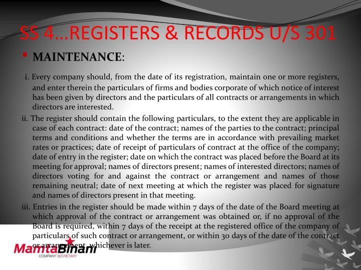 SS 4…REGISTERS & RECORDS U/S 301