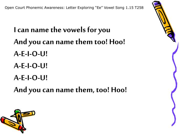 "Open Court Phonemic Awareness: Letter Exploring ""Ee"" Vowel Song 1.15 T258"