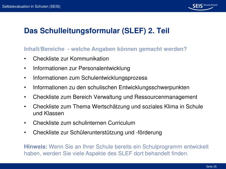 Das Schulleitungsformular (SLEF) 2. Teil