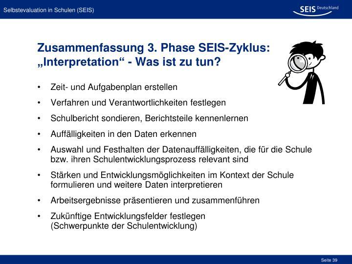 Zusammenfassung 3. Phase SEIS-Zyklus: