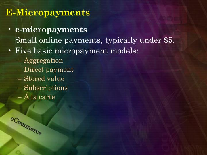 E-Micropayments
