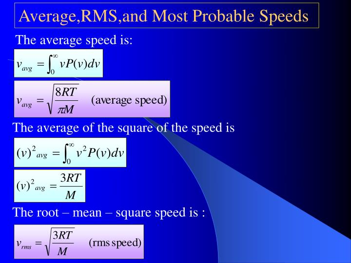 The average speed is: