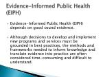 evidence informed public health eiph1