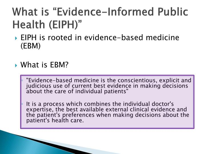 What is evidence informed public health eiph