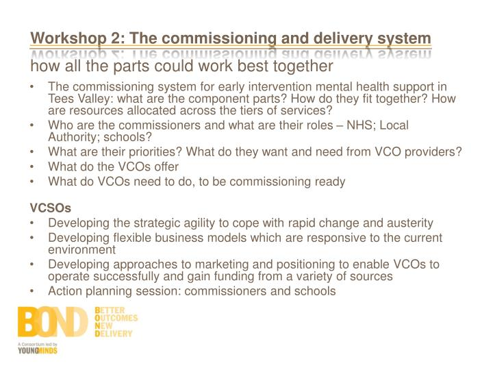 Workshop 2: The commissioning and delivery system
