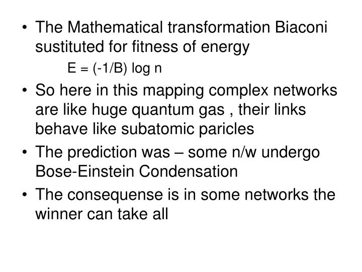 The Mathematical transformation Biaconi sustituted for fitness of energy