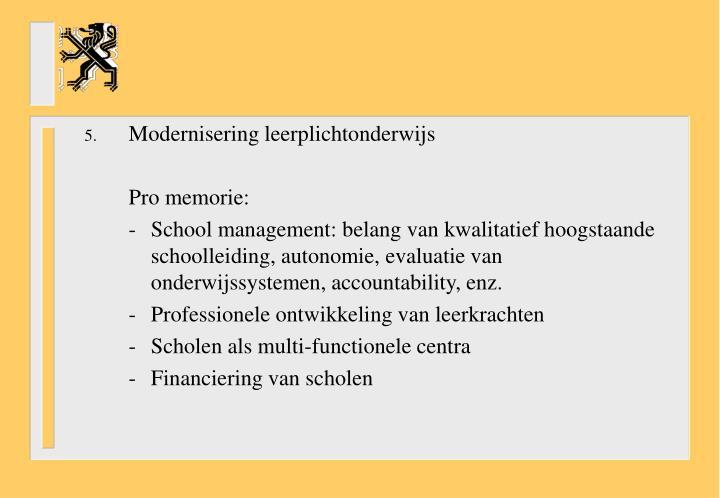 Modernisering leerplichtonderwijs