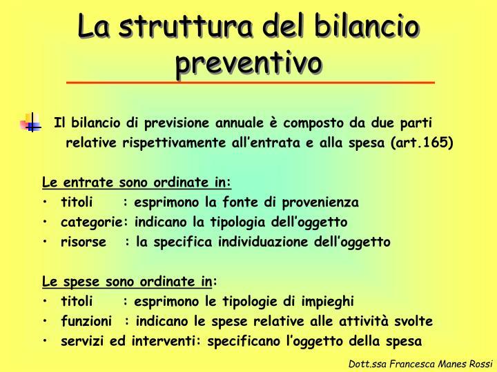 La struttura del bilancio preventivo