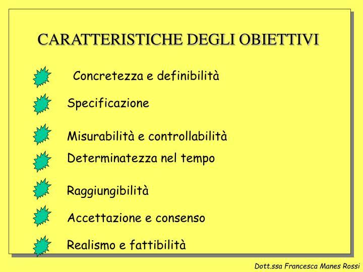 CARATTERISTICHE DEGLI OBIETTIVI