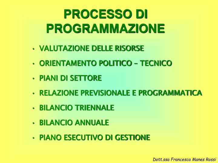 PROCESSO DI PROGRAMMAZIONE